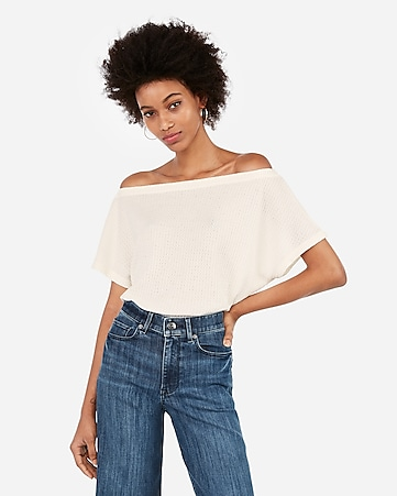 56562734234 Express View · express one eleven off the shoulder waffle knit tee