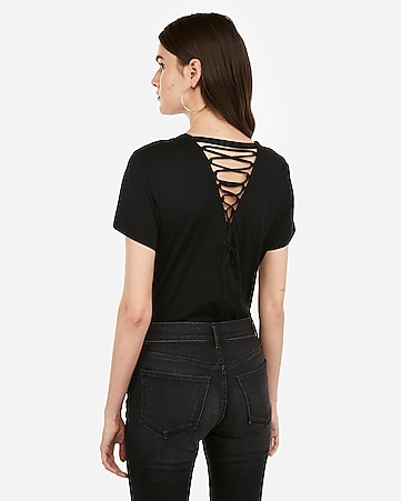 Express One Eleven Lace Up Back Girlfriend Tee by Express