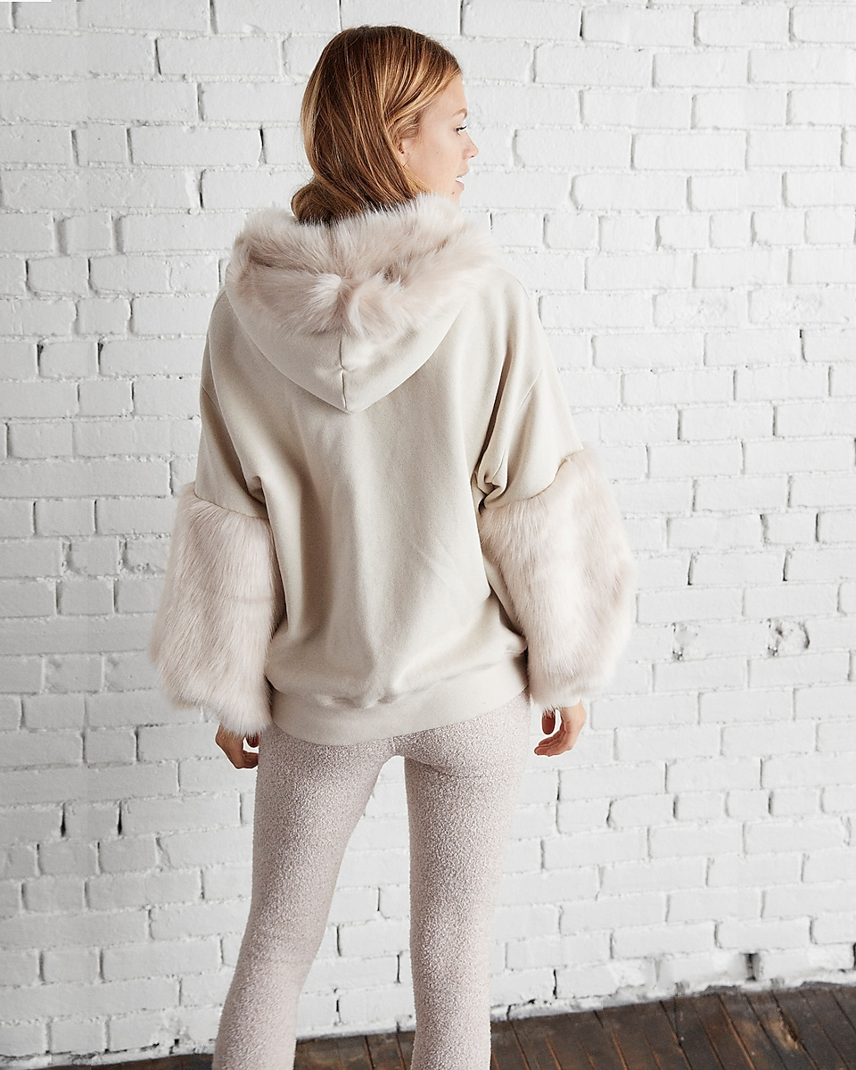 Petite Faux Fur Trim Hooded Sweatshirt | Express