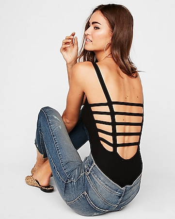 Express View · express one eleven modern rib strappy back thong bodysuit a66ba90e5