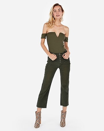 d37716fad22b Express View · express one eleven modern rib off the shoulder v-wire  bodysuit