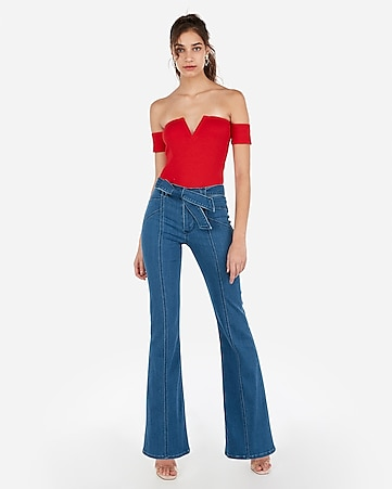 cd92885240 Express View · express one eleven modern rib off the shoulder v-wire  bodysuit