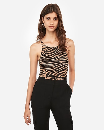 Express One Eleven Zebra Print Strappy Back Thong Bodysuit by Express