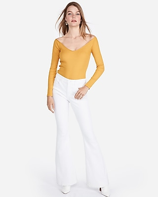 petite express one eleven modern rib off the shoulder tee