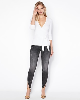 Express.com deals on Express One Eleven Modern Rib Wrap Front Tee
