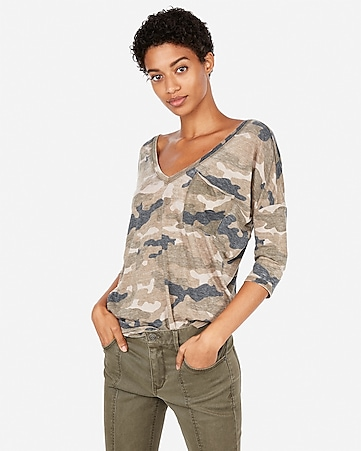 6f559c243 Express View · express one eleven camo double v london tee