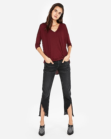 ed351d3c Express One Eleven V-neck Twist Front London Tee | Express