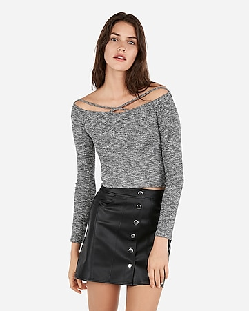 b3e25be38d5f0a express one eleven strappy rib off the shoulder abbreviated tee