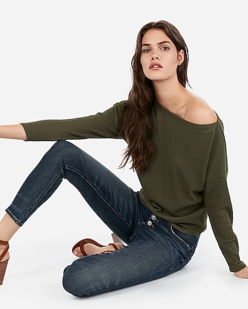 eaabe9a31f3 Express View · express one eleven off the shoulder waffle knit tee
