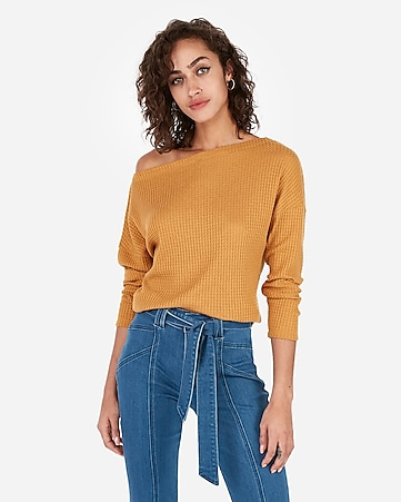 5fb9bb898507 Express View · express one eleven off the shoulder waffle knit tee