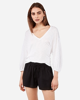 Express One Eleven V Neck Blouson Sleeve Tee by Express
