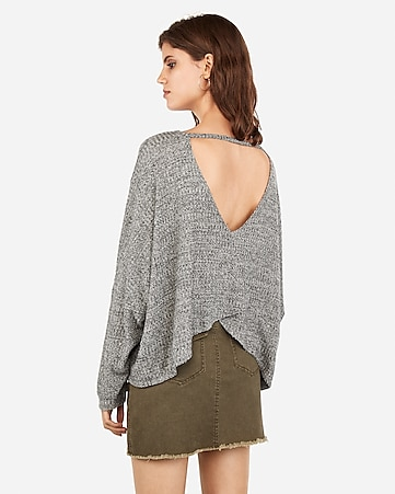 Express One Eleven Open Back Waffle Top by Express
