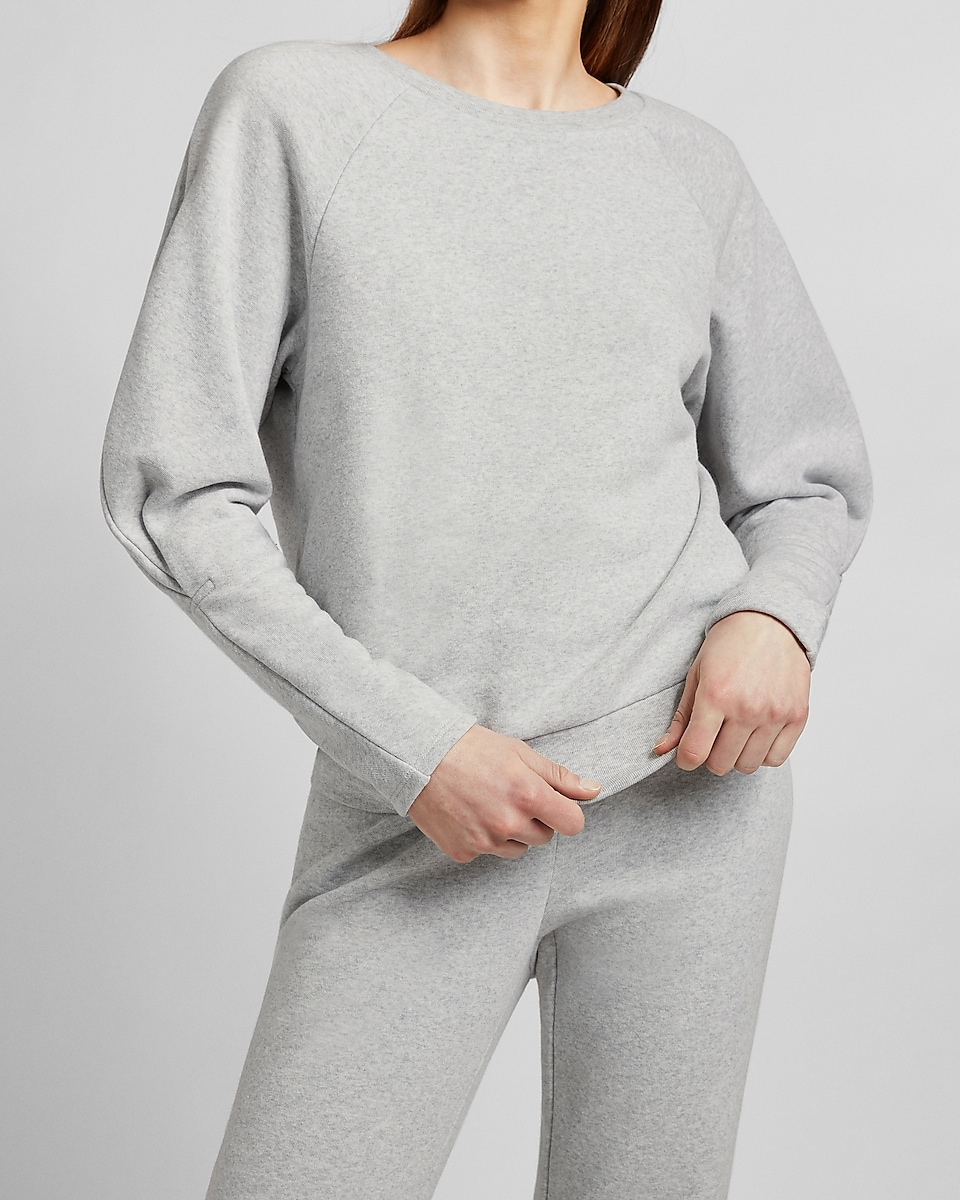 Express Cinched Balloon Sleeve Women's Sweatshirt (Silver Heather Gray)