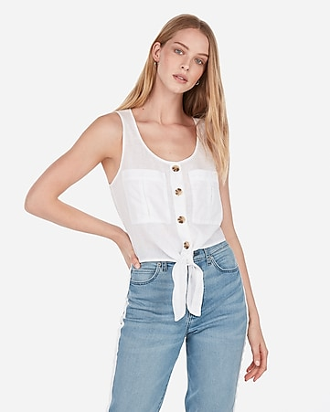 548513adc4 express view · linen-blend tie front tank