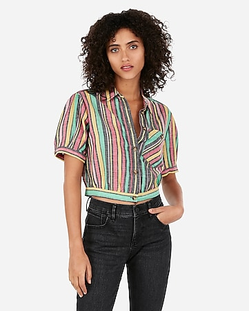 68a5c2028c178 multi stripe cropped button front linen-blend pocket shirt