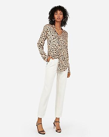 Leopard Print One Pocket Boyfriend Shirt by Express