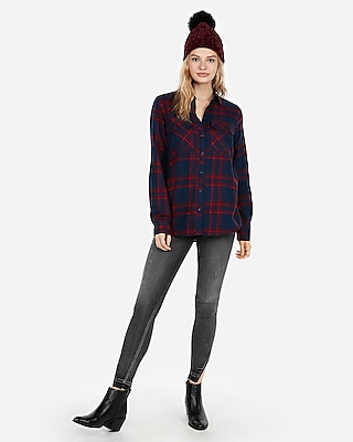 petite blue plaid flannel flap-pocket boyfriend shirt