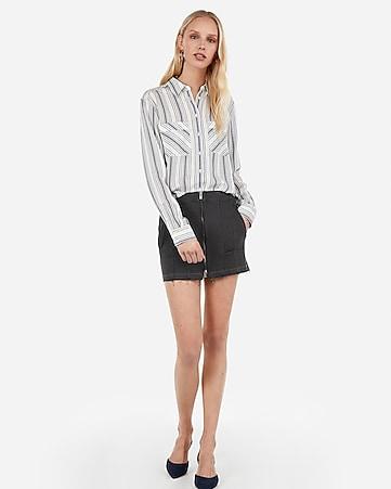 09bf4c155f6 satin twill no pocket city shirt by express.  49.90.  49.90. striped  button-up shirt