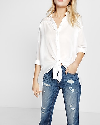 Women's Striped Button up Front Tie Shirt Casual Summer Loose Short Sleeve Tops. from $ 16 98 Prime. out of 5 stars Macr&Steve. Womens Loose Short Sleeve V Neck Button Down T Shirts Tie Front Knot Casual Blouse Tops. from $ 8 99 Prime. out of 5 stars Remikstyt.