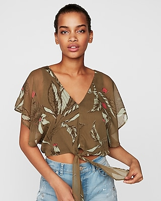 petite floral chiffon tie front cropped top