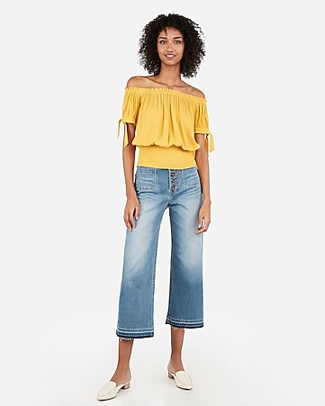 12678193ae01 Express View · off the shoulder smocked hem top