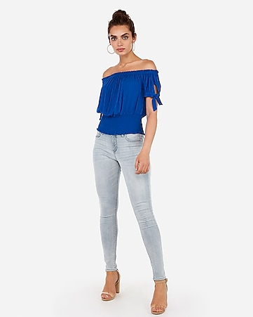 fc39a074990 Express View · off the shoulder smocked hem top
