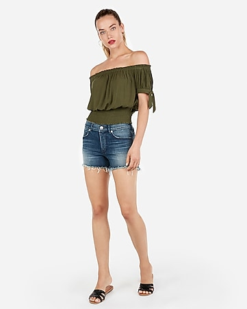 932394133838 Express View · off the shoulder smocked hem top