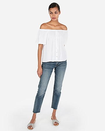 b51ea271615 Express View · off the shoulder button front top