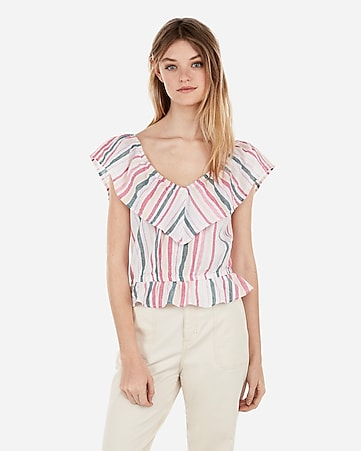 e292435f639f1 Express View · abbreviated metallic striped linen-blend off the shoulder top