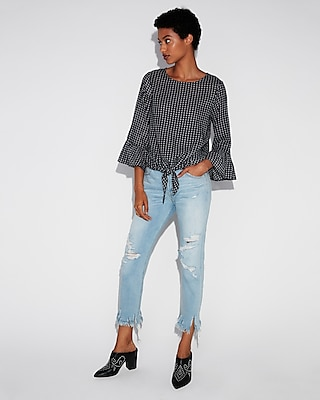Gingham Ruffle Sleeve Tie Front Shirt by Express