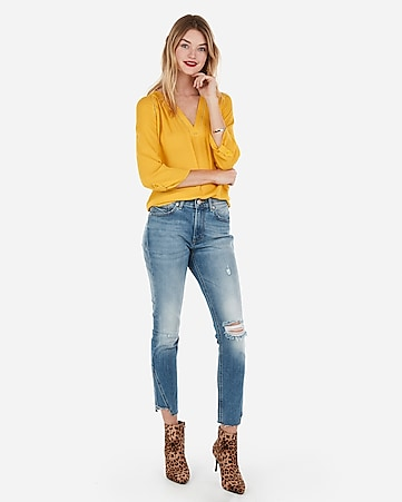 98eedbfa22 Express View · deep v-neck eyelet trim popover top