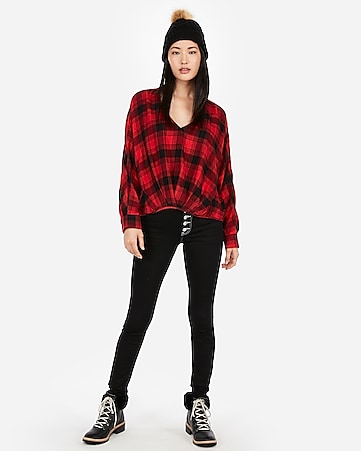 a91c568eede Express View · red plaid flannel deep v-neck top