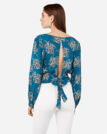 Lily Print Tie Back Surplice Top by Express