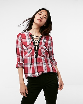 red plaid laceup vneck top