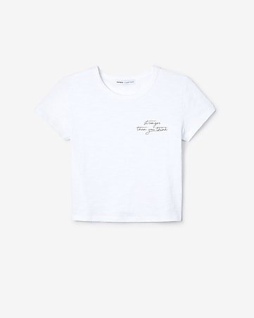 43ff50437b375 Express View · olivia culpo stronger cropped graphic tee