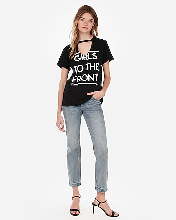 f19779269 Express View · girls to the front graphic cut-out boyfriend tee