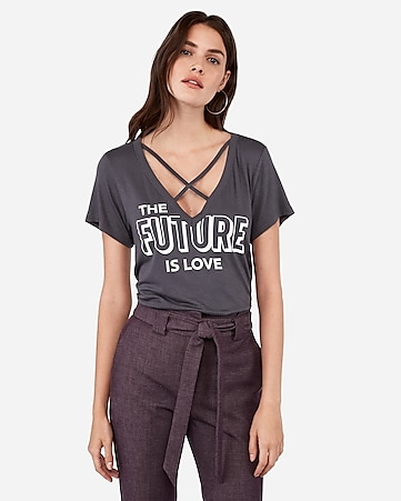 The Future Is Love Graphic Strappy Boyfriend Tee by Express