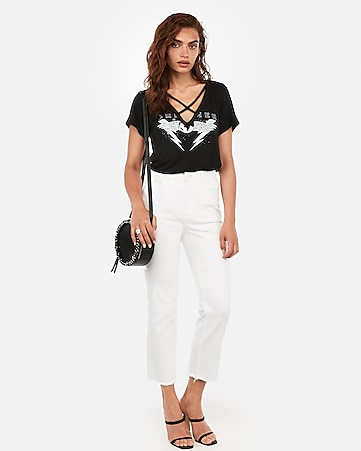 Dreamer Bolt Graphic Strappy V Neck Boyfriend Tee by Express