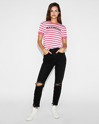 Express Logo Pink Striped Tee by Express