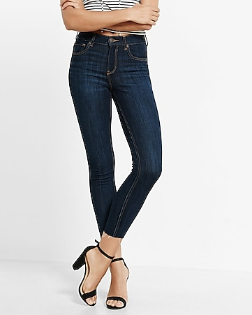 petite high waisted raw hem stretch cropped jean legging