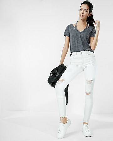 petite high waisted white distressed stretch ankle jean legging