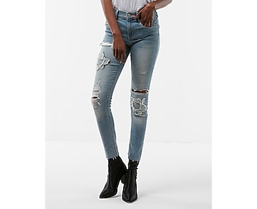 petite mid rise destroyed stretch ankle jean leggings