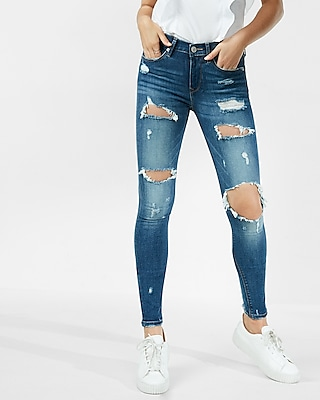 Petite Mid Rise Distressed Jean Legging | Express