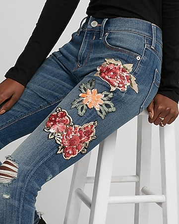 petite mid rise sequin embroidered stretch jean leggings
