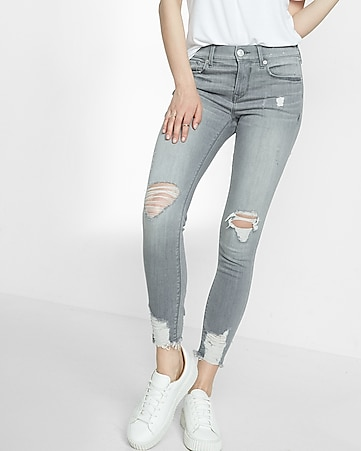 petite gray mid rise destroyed stretch ankle jean legging