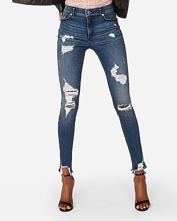 9bbee2544c3b8 petite high waisted denim perfect ripped ankle leggings