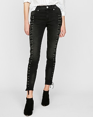 petite mid rise lace-up stretch ankle jean leggings