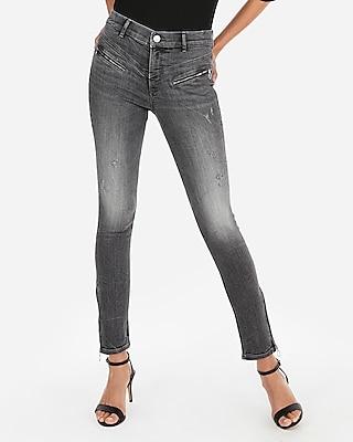 petite high waisted denim perfect gray zip ankle leggings