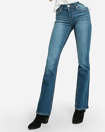 mid rise medium wash stretch bootcut jeans