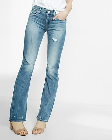 mid rise distressed faded stretch bootcut jeans